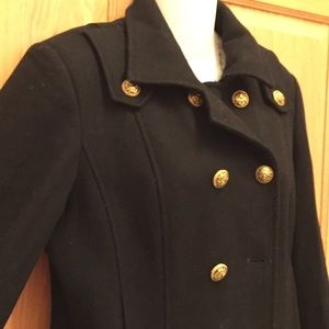 GUESS Black Wool Pea Coat Jacket Medium M Pleated